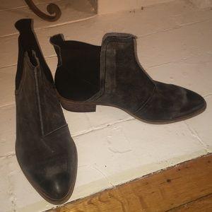 Free people black and grey suede booties